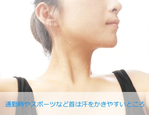首は皮膚が薄く汗をかきやすい